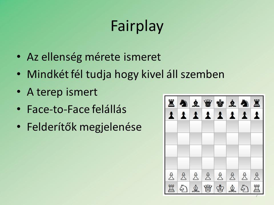 Fairplay • Az ellenség mérete ismeret • Mindkét fél tudja hogy kivel áll szemben • A terep ismert • Face-to-Face felállás • Felderítők megjelenése 7