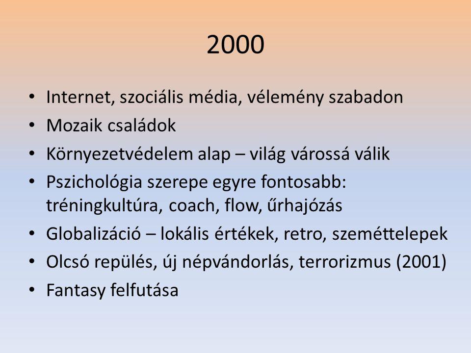 2000 • Internet, szociális média, vélemény szabadon • Mozaik családok • Környezetvédelem alap – világ várossá válik • Pszichológia szerepe egyre fontosabb: tréningkultúra, coach, flow, űrhajózás • Globalizáció – lokális értékek, retro, szeméttelepek • Olcsó repülés, új népvándorlás, terrorizmus (2001) • Fantasy felfutása
