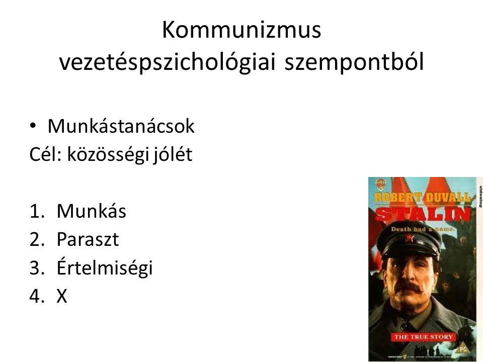 Kommunizmus vezetéspszichológiai szempontból • Munkástanácsok Cél: közösségi jólét 1.Munkás 2.Paraszt 3.Értelmiségi 4.X
