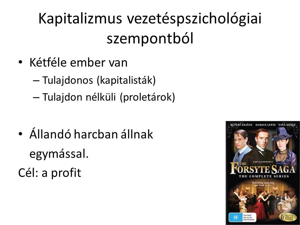 Kapitalizmus vezetéspszichológiai szempontból • Kétféle ember van – Tulajdonos (kapitalisták) – Tulajdon nélküli (proletárok) • Állandó harcban állnak egymással.