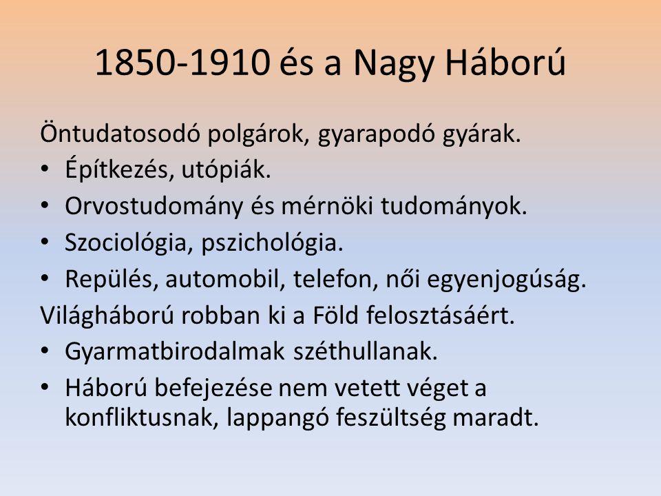 1850-1910 és a Nagy Háború Öntudatosodó polgárok, gyarapodó gyárak. • Építkezés, utópiák. • Orvostudomány és mérnöki tudományok. • Szociológia, pszich