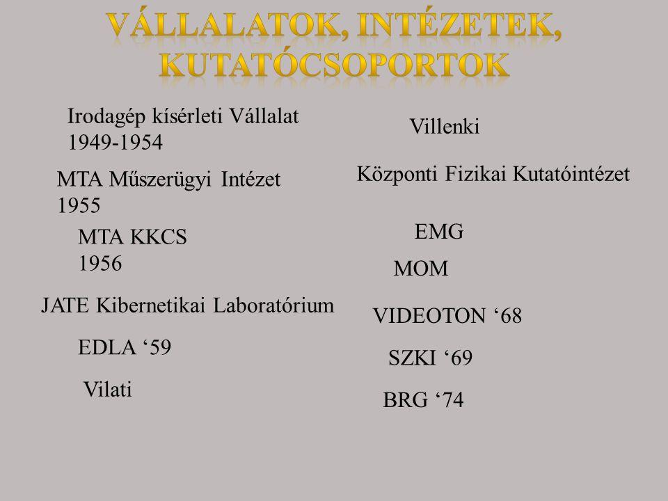 MTA Műszerügyi Intézet 1955 Irodagép kísérleti Vállalat 1949-1954 MTA KKCS 1956 JATE Kibernetikai Laboratórium EDLA '59 Vilati Villenki Központi Fizik