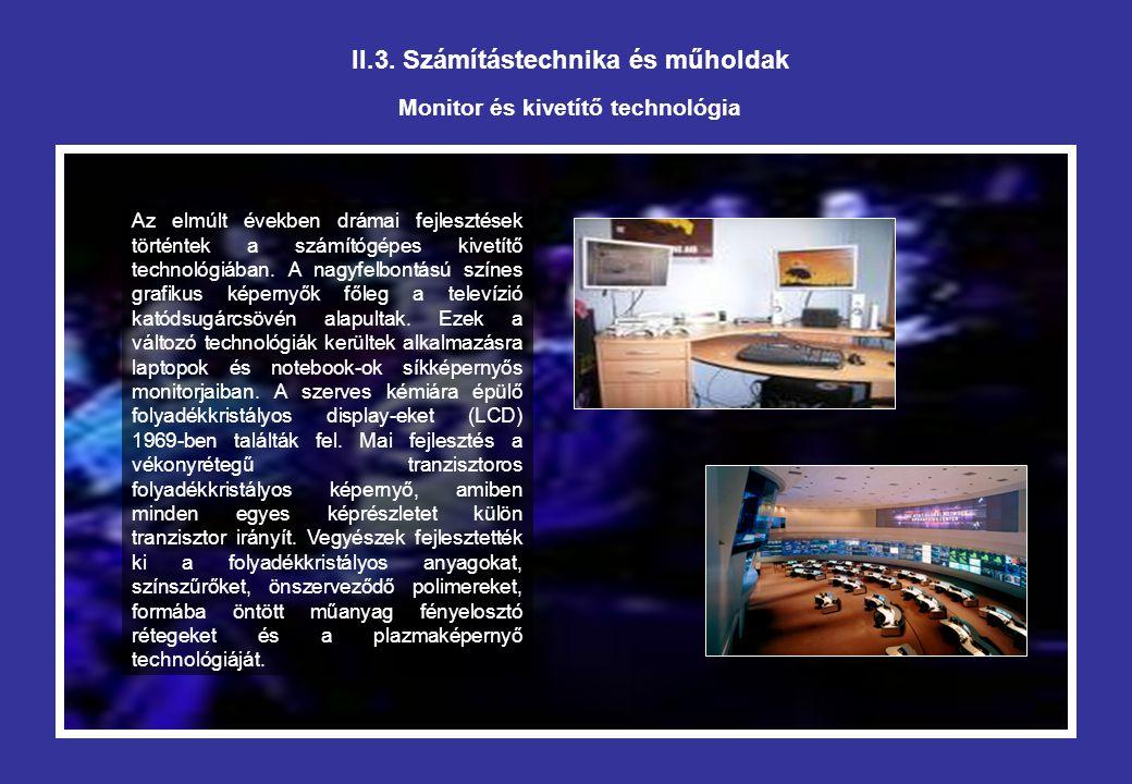 II.3. Számítástechnika és műholdak Monitor és kivetítő technológia Az elmúlt években drámai fejlesztések történtek a számítógépes kivetítő technológiá