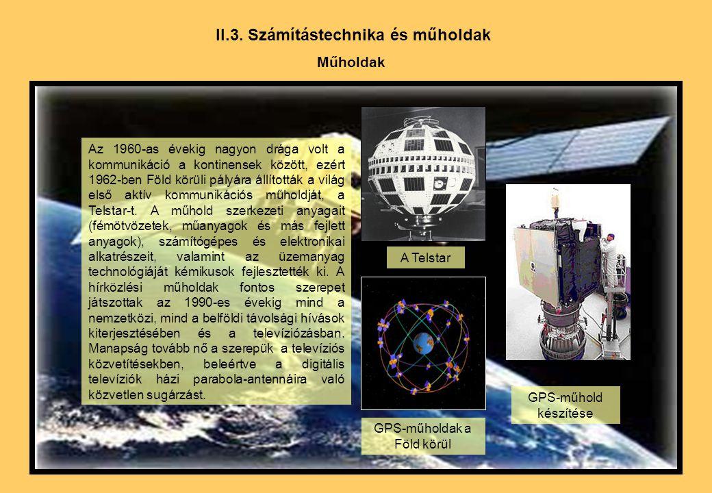 II.3. Számítástechnika és műholdak Műholdak Az 1960-as évekig nagyon drága volt a kommunikáció a kontinensek között, ezért 1962-ben Föld körüli pályár