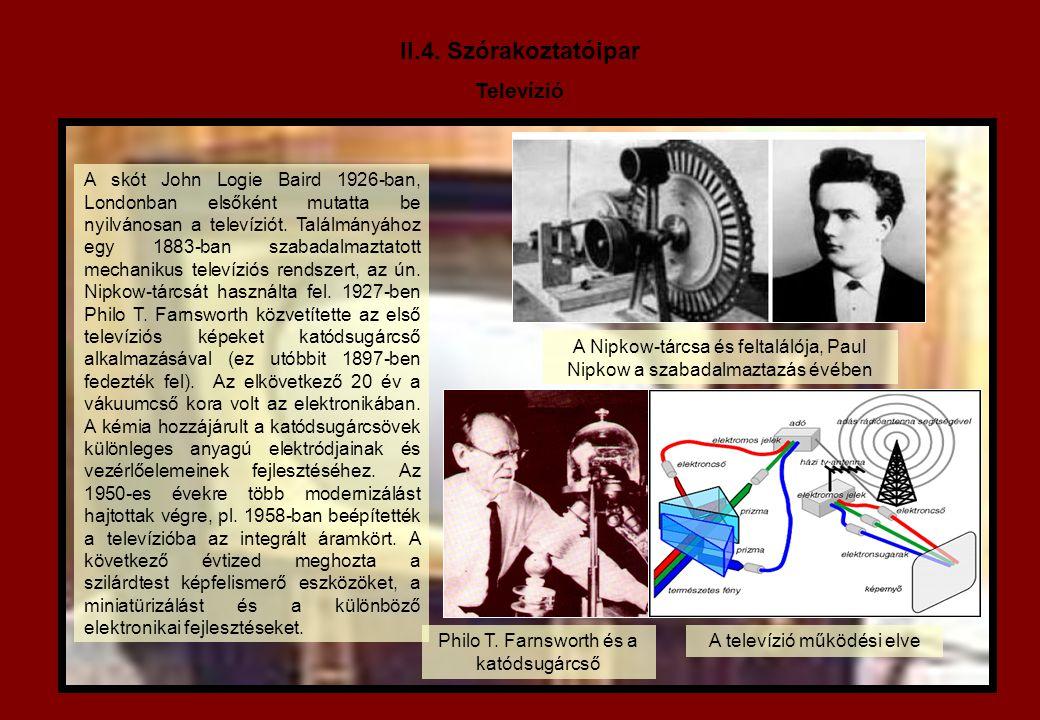 II.4. Szórakoztatóipar Televízió A skót John Logie Baird 1926-ban, Londonban elsőként mutatta be nyilvánosan a televíziót. Találmányához egy 1883-ban