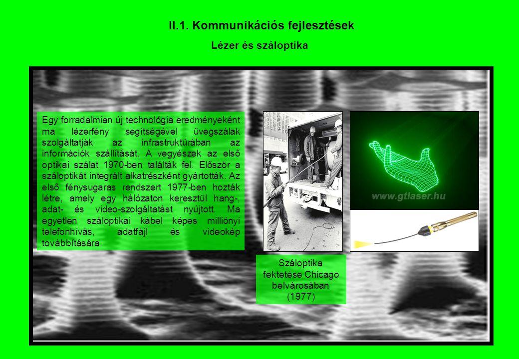 II.1. Kommunikációs fejlesztések Lézer és száloptika Egy forradalmian új technológia eredményeként ma lézerfény segítségével üvegszálak szolgáltatják