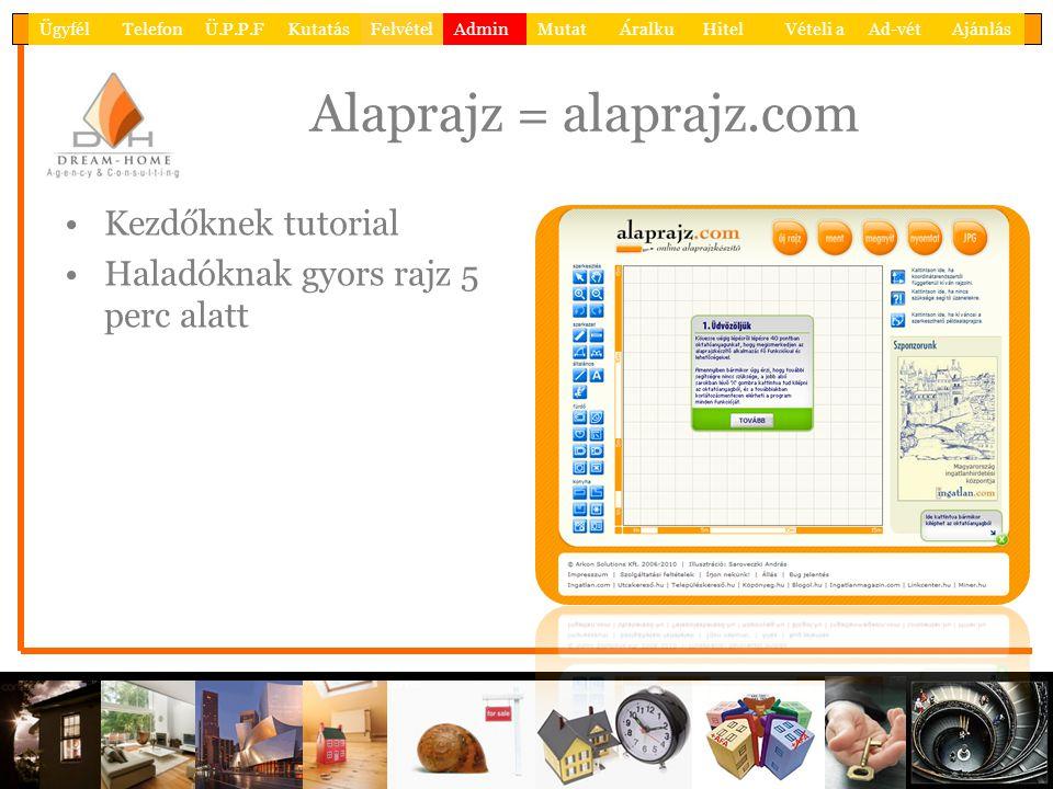 Alaprajz = alaprajz.com •Kezdőknek tutorial •Haladóknak gyors rajz 5 perc alatt ÜgyfélTelefonÜ.P.P.FKutatásFelvételAdminMutatÁralkuHitelVételi aAd-vétAjánlás
