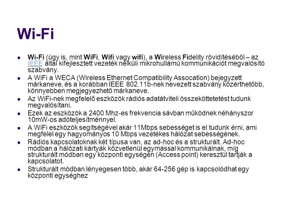 Wi-Fi  Wi-Fi (úgy is, mint WiFi, Wifi vagy wifi), a Wireless Fidelity rövidítéséből – az IEEE által kifejlesztett vezeték nélküli mikrohullámú kommunikációt megvalósító szabvány.