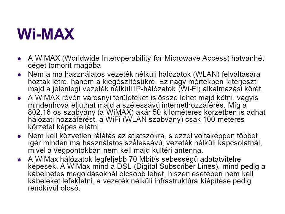Wi-MAX  A WiMAX (Worldwide Interoperability for Microwave Access) hatvanhét céget tömörít magába  Nem a ma használatos vezeték nélküli hálózatok (WLAN) felváltására hozták létre, hanem a kiegészítésükre.