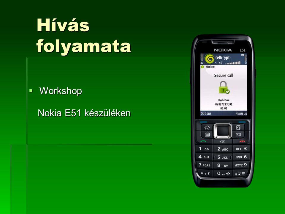 Hívás folyamata Nokia E51 készüléken  Workshop