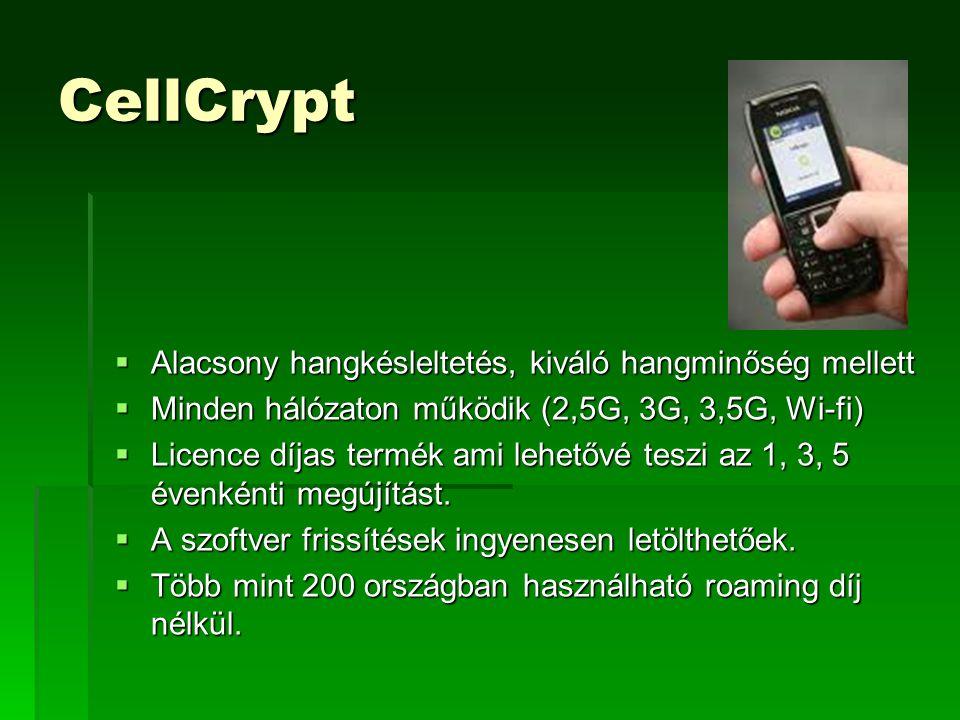 CellCrypt  Alacsony hangkésleltetés, kiváló hangminőség mellett  Minden hálózaton működik (2,5G, 3G, 3,5G, Wi-fi)  Licence díjas termék ami lehetővé teszi az 1, 3, 5 évenkénti megújítást.