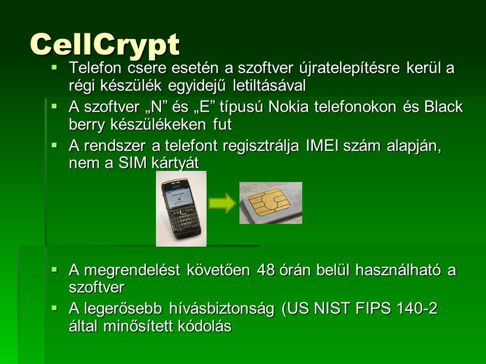 """CellCrypt  Telefon csere esetén a szoftver újratelepítésre kerül a régi készülék egyidejű letiltásával  A szoftver """"N és """"E típusú Nokia telefonokon és Black berry készülékeken fut  A rendszer a telefont regisztrálja IMEI szám alapján, nem a SIM kártyát  A megrendelést követően 48 órán belül használható a szoftver  A legerősebb hívásbiztonság (US NIST FIPS 140-2 által minősített kódolás"""