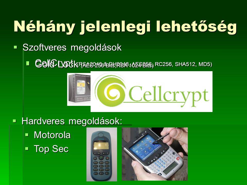 Néhány jelenlegi lehetőség  Szoftveres megoldások  Hardveres megoldások:  Motorola  Top Sec  CellCrypt (RSA2048 & DH2048, AES256, RC256, SHA512, MD5)  Gold Lock (AES 256 Bits,RSA 1024 Bits)