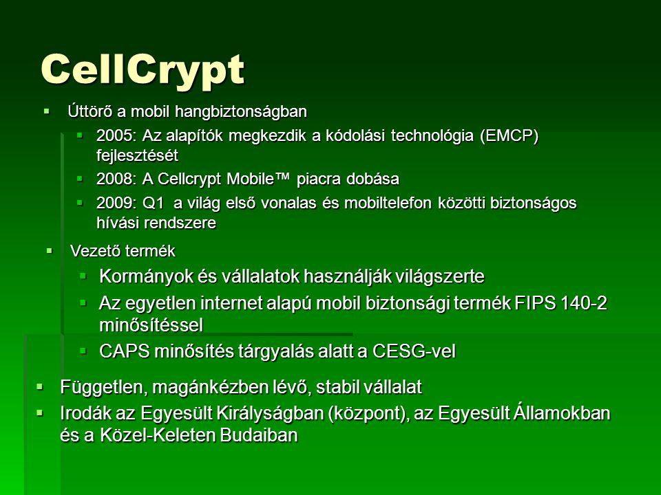 CellCrypt  Úttörő a mobil hangbiztonságban  2005: Az alapítók megkezdik a kódolási technológia (EMCP) fejlesztését  2008: A Cellcrypt Mobile™ piacra dobása  2009: Q1 a világ első vonalas és mobiltelefon közötti biztonságos hívási rendszere  Vezető termék  Kormányok és vállalatok használják világszerte  Az egyetlen internet alapú mobil biztonsági termék FIPS 140-2 minősítéssel  CAPS minősítés tárgyalás alatt a CESG-vel  Független, magánkézben lévő, stabil vállalat  Irodák az Egyesült Királyságban (központ), az Egyesült Államokban és a Közel-Keleten Budaiban