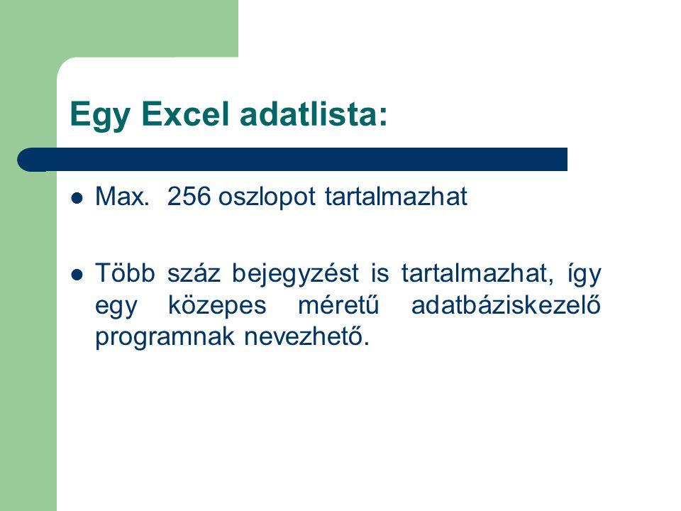 Egy Excel adatlista:  Max. 256 oszlopot tartalmazhat  Több száz bejegyzést is tartalmazhat, így egy közepes méretű adatbáziskezelő programnak nevezh