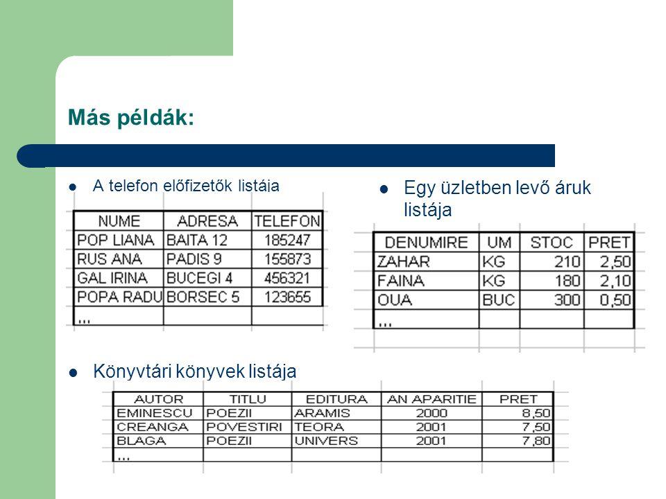 Más példák:  A telefon előfizetők listája  Könyvtári könyvek listája  Egy üzletben levő áruk listája
