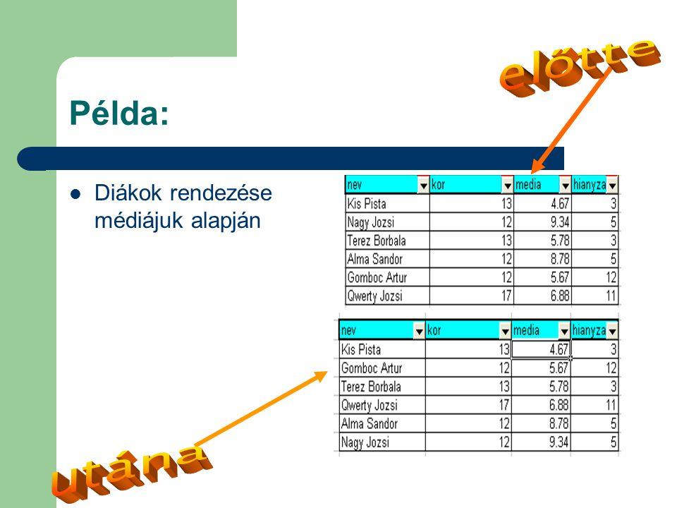 Példa:  Diákok rendezése médiájuk alapján