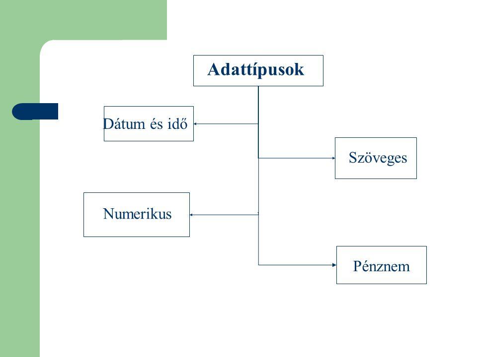 Szöveges Adattípusok Numerikus Dátum és idő Pénznem