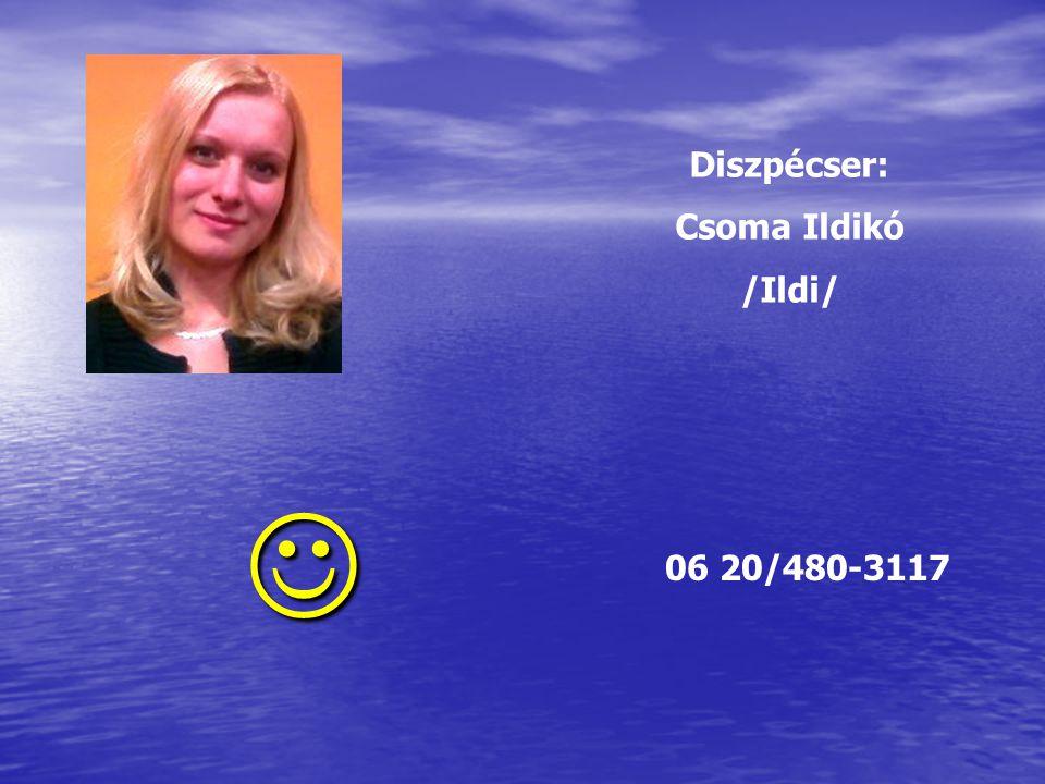 Diszpécser: Csoma Ildikó /Ildi/  06 20/480-3117