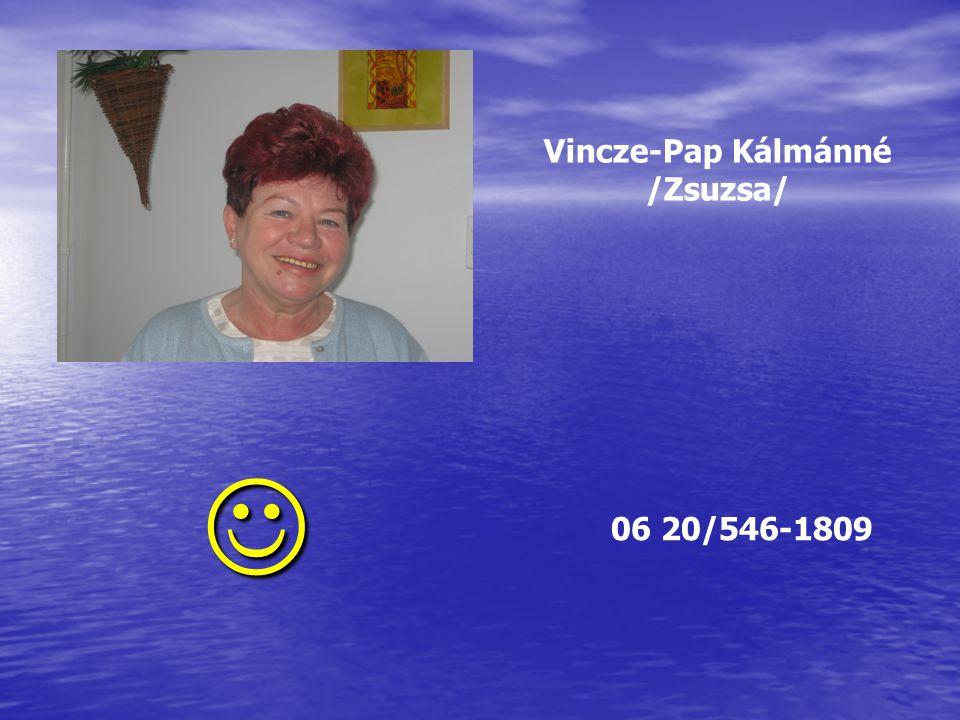 Vincze-Pap Kálmánné /Zsuzsa/  06 20/546-1809