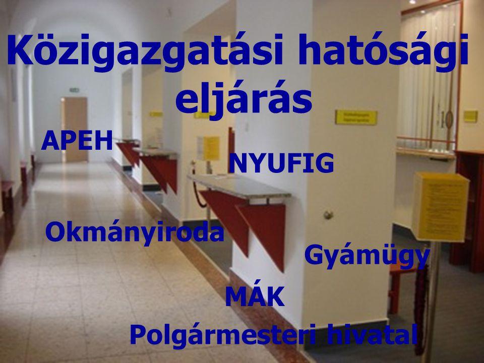 APEH Polgármesteri hivatal Közigazgatási hatósági eljárás NYUFIG MÁK Okmányiroda Gyámügy