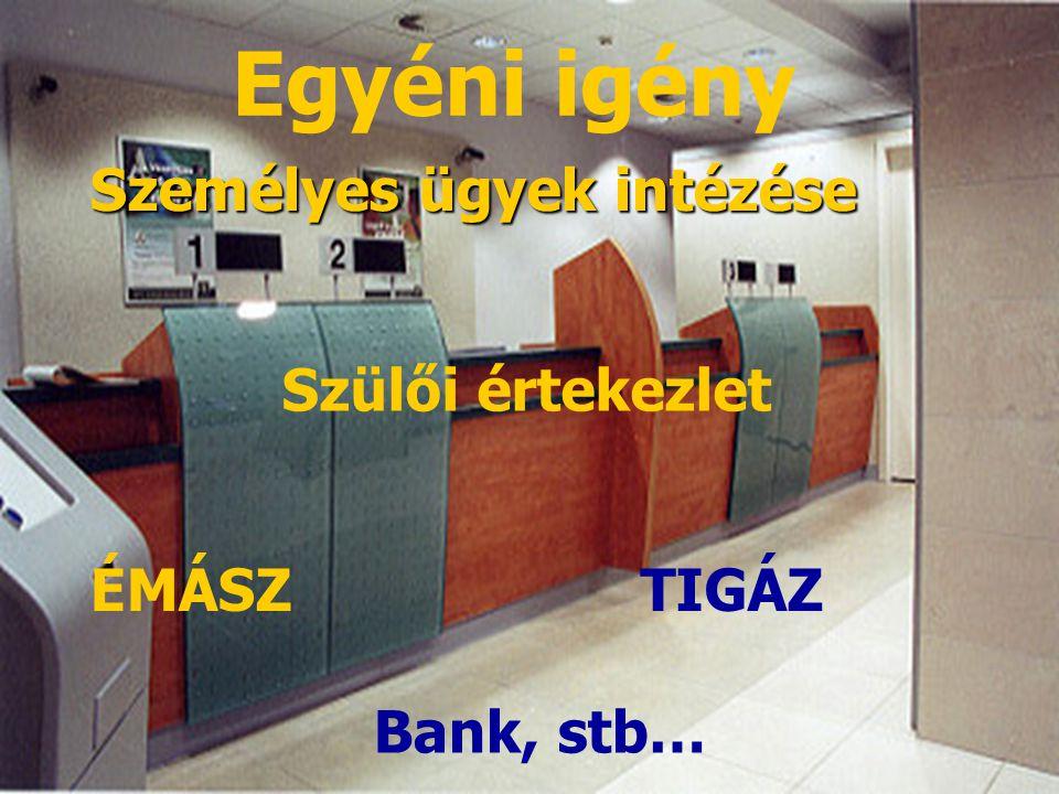 Bank, stb… Egyéni igény TIGÁZ Személyes ügyek intézése Szülői értekezlet ÉMÁSZ