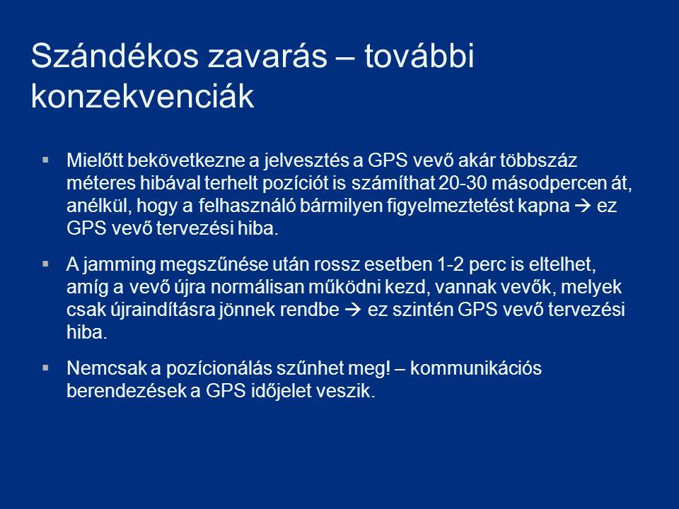 Szándékos zavarás – további konzekvenciák  Mielőtt bekövetkezne a jelvesztés a GPS vevő akár többszáz méteres hibával terhelt pozíciót is számíthat 2