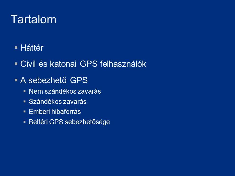  Háttér  Civil és katonai GPS felhasználók  A sebezhető GPS  Nem szándékos zavarás  Szándékos zavarás  Emberi hibaforrás  Beltéri GPS sebezhető