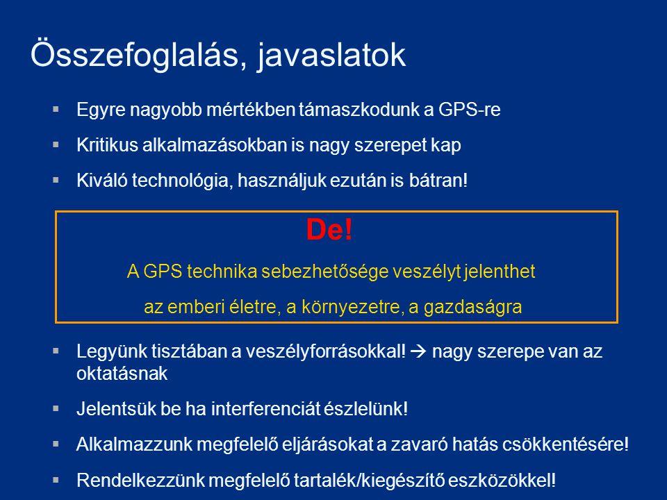 Összefoglalás, javaslatok  Egyre nagyobb mértékben támaszkodunk a GPS-re  Kritikus alkalmazásokban is nagy szerepet kap  Kiváló technológia, haszná