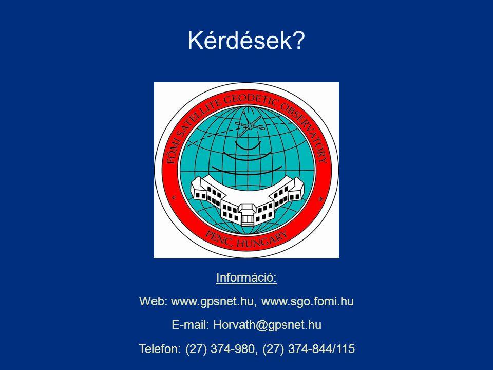 Kérdések? Információ: Web: www.gpsnet.hu, www.sgo.fomi.hu E-mail: Horvath@gpsnet.hu Telefon: (27) 374-980, (27) 374-844/115