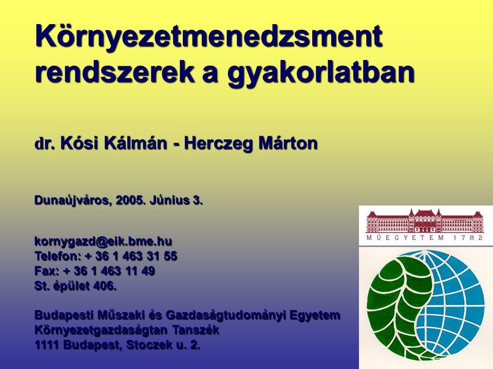 1 kornygazd@eik.bme.hu Telefon: + 36 1 463 31 55 Fax: + 36 1 463 11 49 St. épület 406. Budapesti Műszaki és Gazdaságtudományi Egyetem Környezetgazdasá