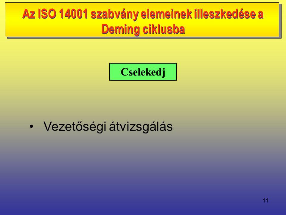 11 • Vezetőségi átvizsgálás Cselekedj Az ISO 14001 szabvány elemeinek illeszkedése a Deming ciklusba
