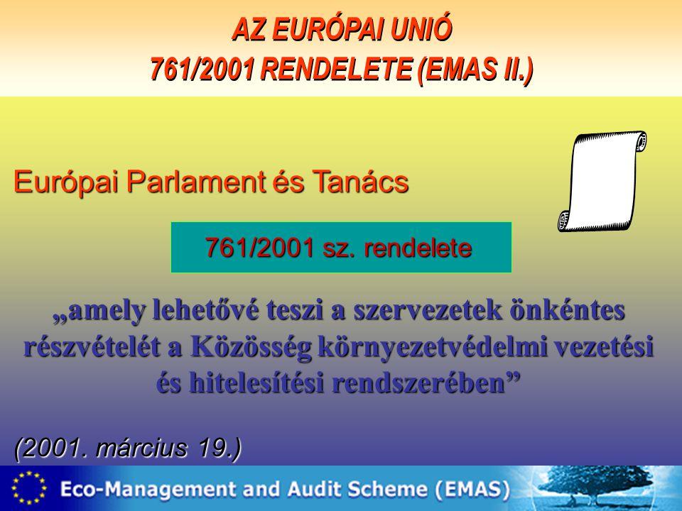 """2 Európai Parlament és Tanács 761/2001 sz. rendelete """"amely lehetővé teszi a szervezetek önkéntes részvételét a Közösség környezetvédelmi vezetési és"""
