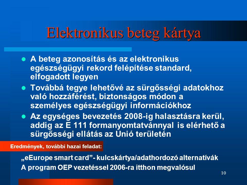 10 Elektronikus beteg kártya  A beteg azonosítás és az elektronikus egészségügyi rekord felépítése standard, elfogadott legyen  Továbbá tegye lehető