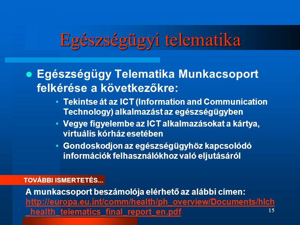 15 Egészségügyi telematika  Egészségügy Telematika Munkacsoport felkérése a következőkre: •Tekintse át az ICT (Information and Communication Technolo