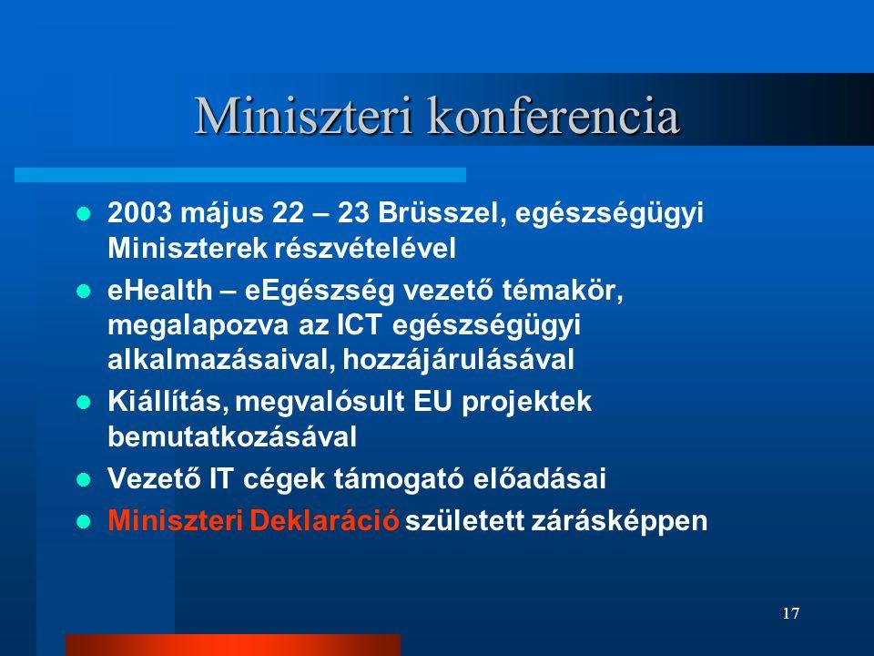 17 Miniszteri konferencia  2003 május 22 – 23 Brüsszel, egészségügyi Miniszterek részvételével  eHealth – eEgészség vezető témakör, megalapozva az I
