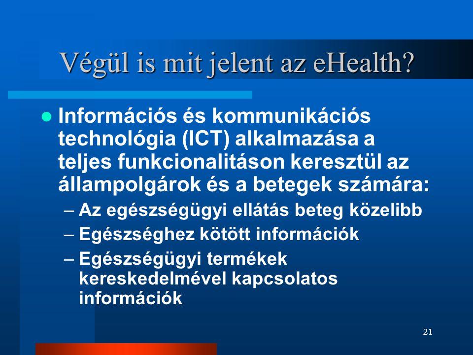 21 Végül is mit jelent az eHealth?  Információs és kommunikációs technológia (ICT) alkalmazása a teljes funkcionalitáson keresztül az állampolgárok é