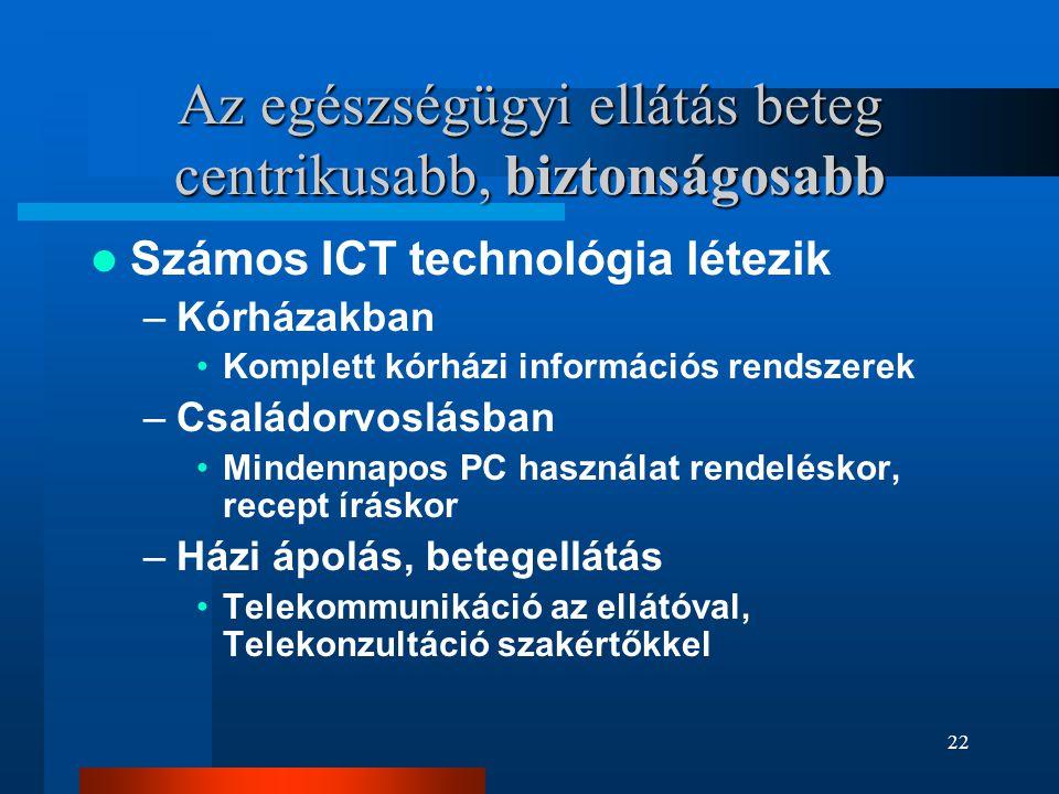22 Az egészségügyi ellátás beteg centrikusabb, biztonságosabb  Számos ICT technológia létezik –Kórházakban •Komplett kórházi információs rendszerek –