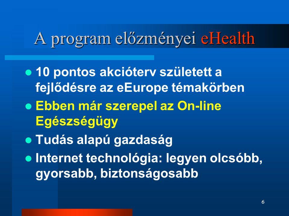 6 A program előzményei eHealth  10 pontos akcióterv született a fejlődésre az eEurope témakörben  Ebben már szerepel az On-line Egészségügy  Tudás