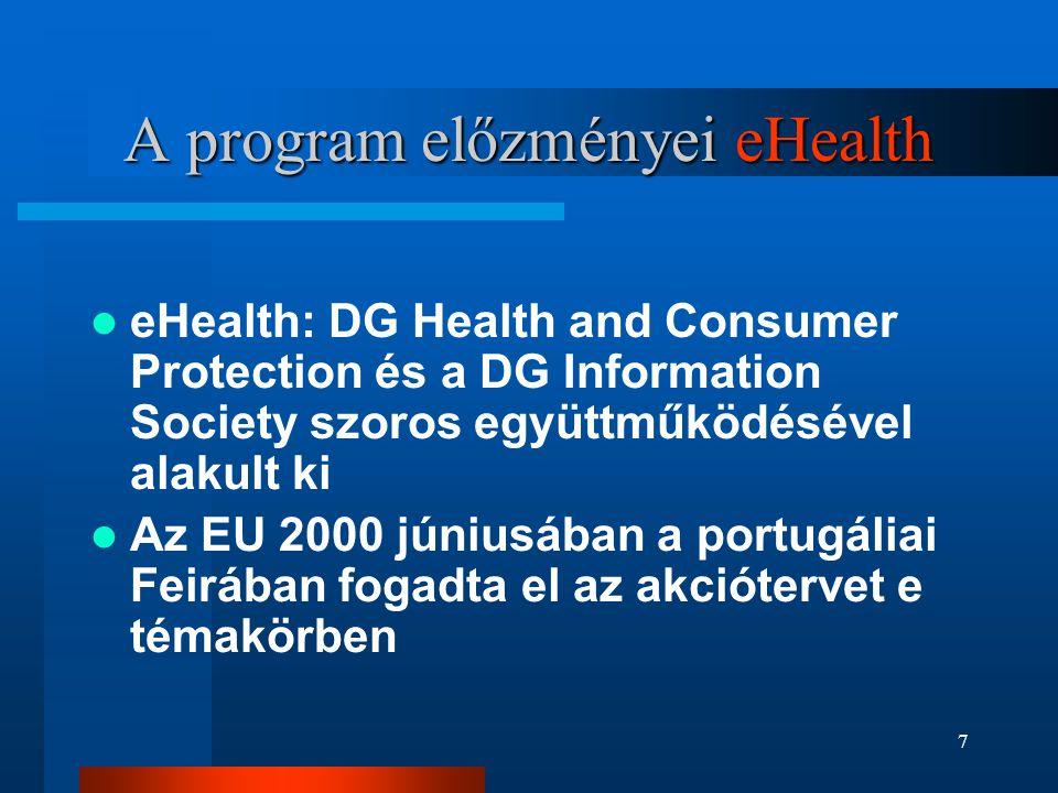 7 A program előzményei eHealth  eHealth: DG Health and Consumer Protection és a DG Information Society szoros együttműködésével alakult ki  Az EU 20