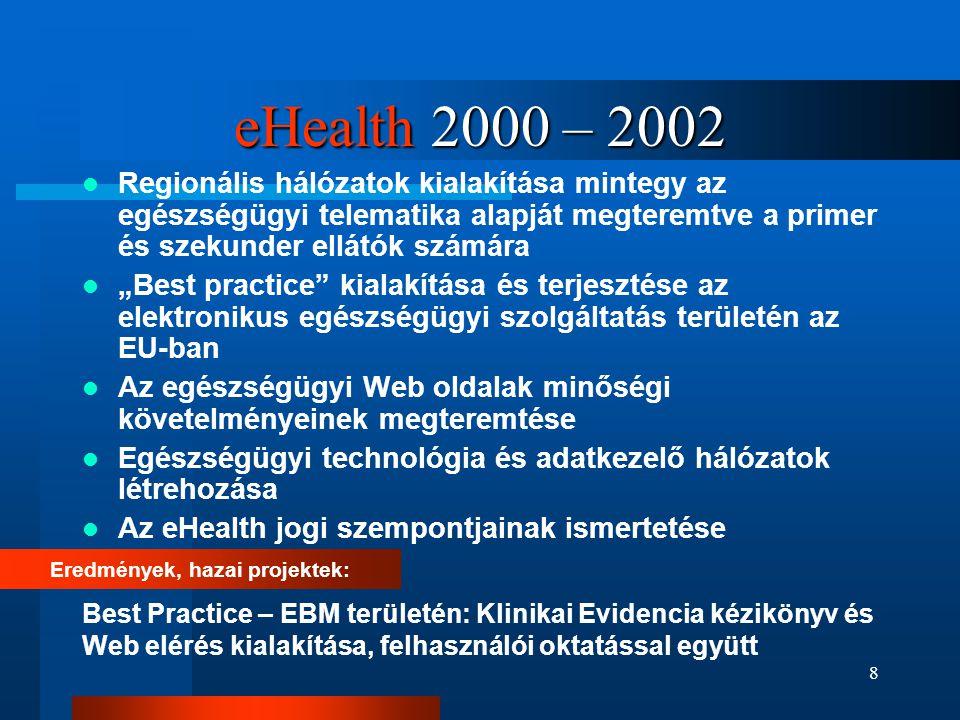 8 eHealth 2000 – 2002  Regionális hálózatok kialakítása mintegy az egészségügyi telematika alapját megteremtve a primer és szekunder ellátók számára