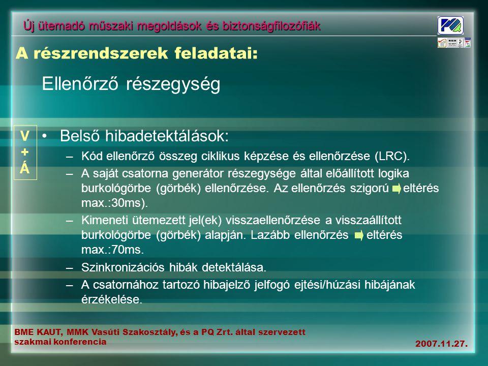 BME KAUT, MMK Vasúti Szakosztály, és a PQ Zrt. által szervezett szakmai konferencia 2007.11.27. Új ütemadó műszaki megoldások és biztonságfilozófiák E