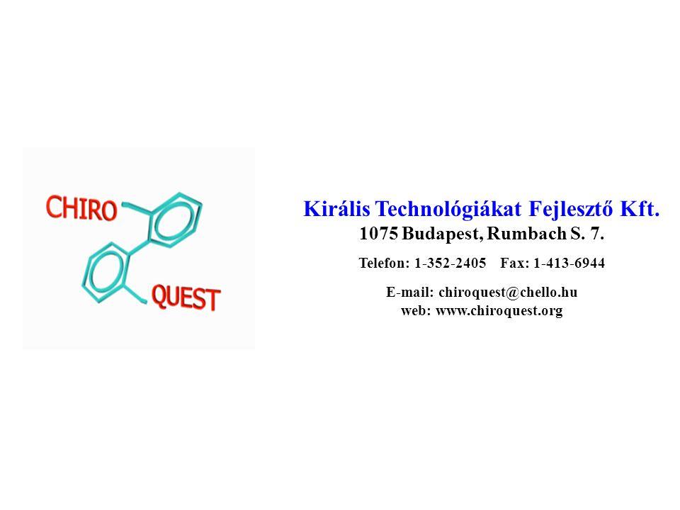Királis Technológiákat Fejlesztő Kft.1075 Budapest, Rumbach S.