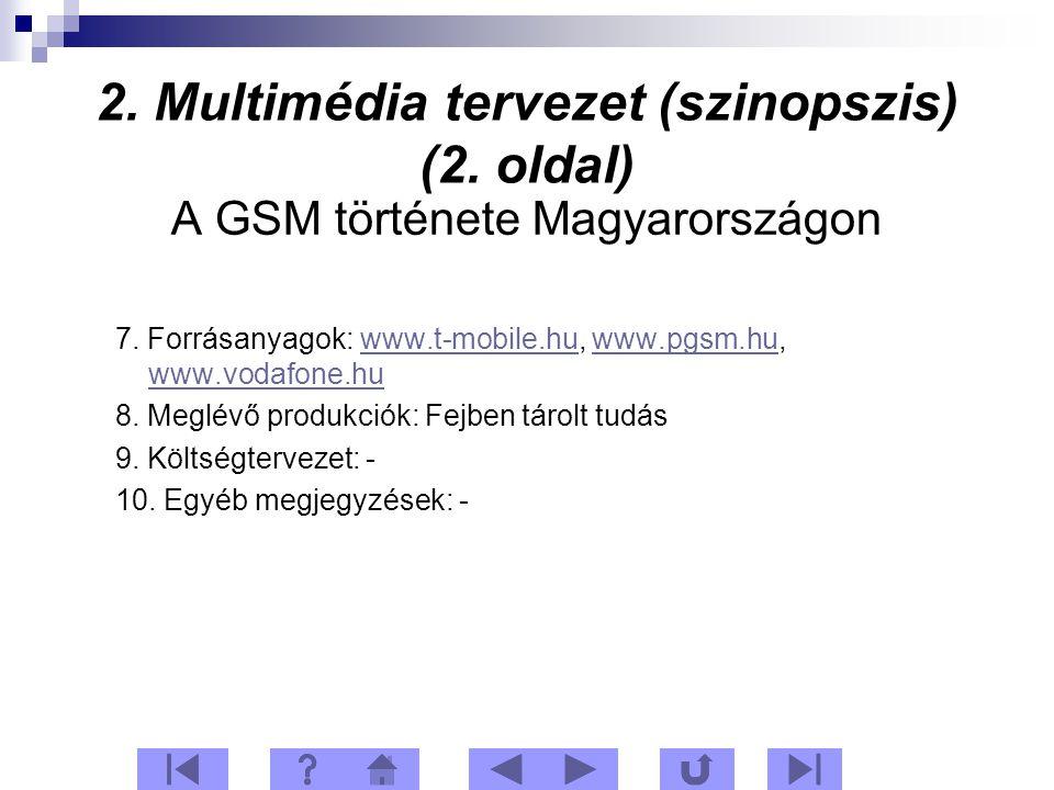 2. Multimédia tervezet (szinopszis) (2. oldal) A GSM története Magyarországon 7.