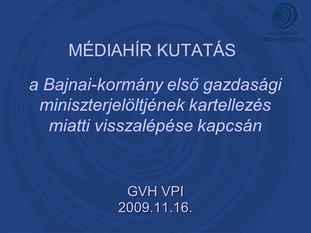 MÉDIAHÍR KUTATÁS GVH VPI 2009.11.16. a Bajnai-kormány első gazdasági miniszterjelöltjének kartellezés miatti visszalépése kapcsán