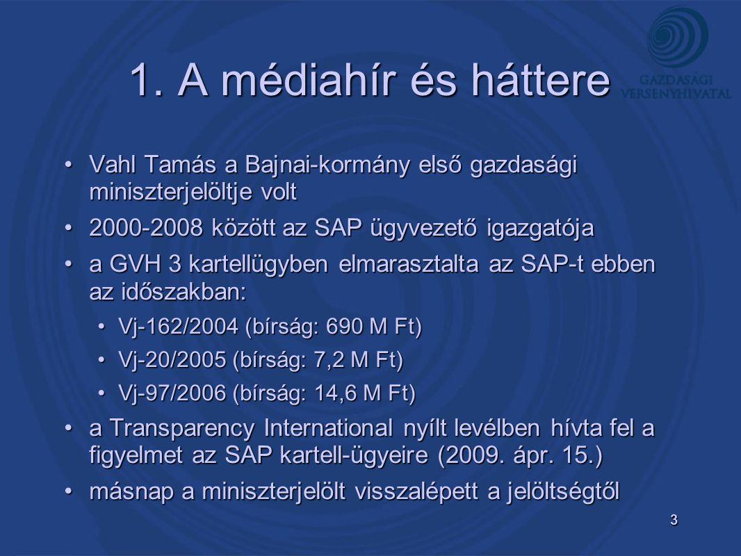3 1. A médiahír és háttere •Vahl Tamás a Bajnai-kormány első gazdasági miniszterjelöltje volt •2000-2008 között az SAP ügyvezető igazgatója •a GVH 3 k