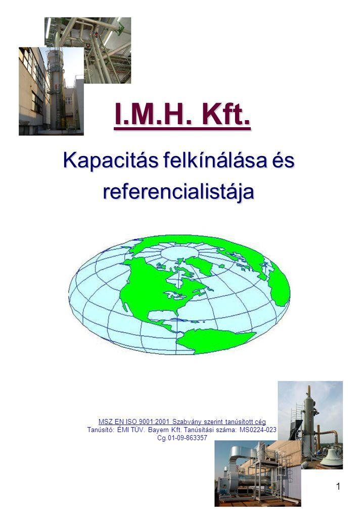 1 I.M.H. Kft. I.M.H. Kft. Kapacitás felkínálása és Kapacitás felkínálása és referencialistája referencialistája MSZ EN ISO 9001:2001 Szabvány szerint