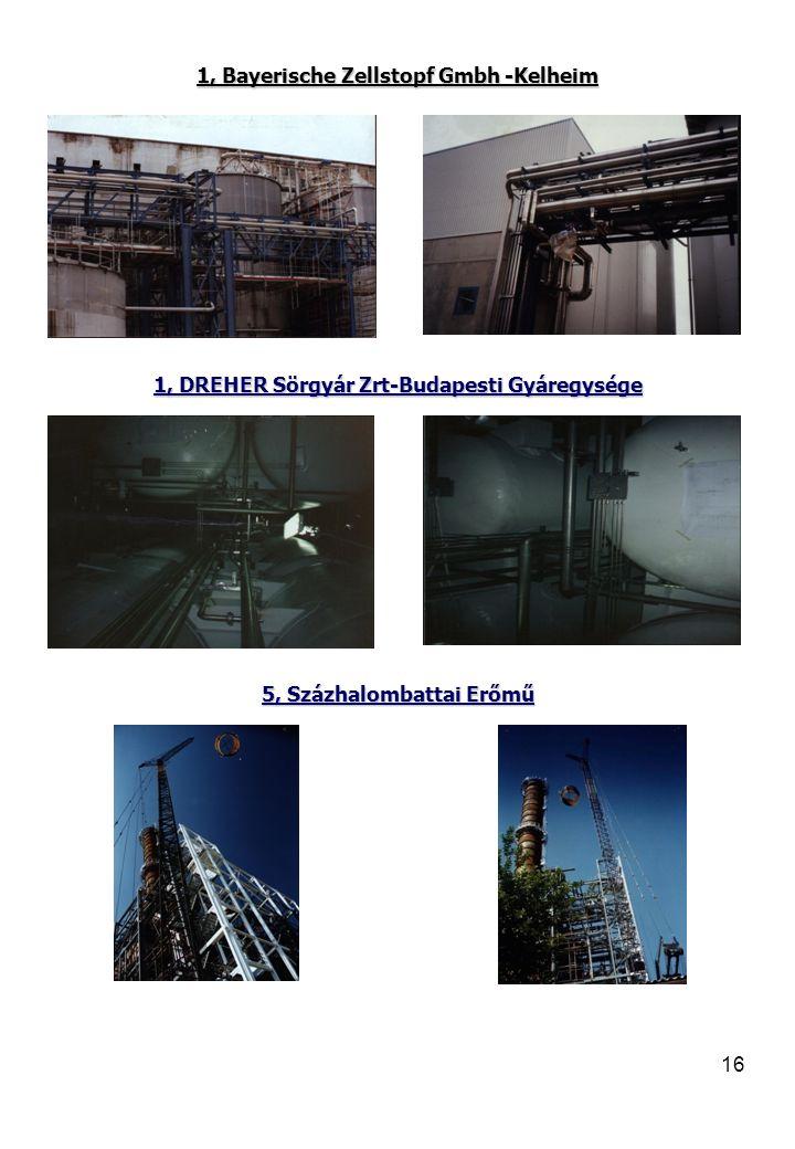 16 1, Bayerische Zellstopf Gmbh -Kelheim 1, DREHER Sörgyár Zrt-Budapesti Gyáregysége 5, Százhalombattai Erőmű