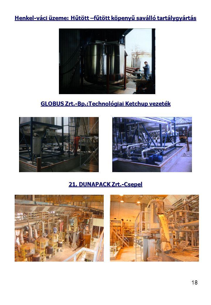 18 Henkel-váci üzeme: Hűtött –fűtött köpenyű saválló tartálygyártás GLOBUS Zrt.-Bp.:Technológiai Ketchup vezeték 21, DUNAPACK Zrt.-Csepel