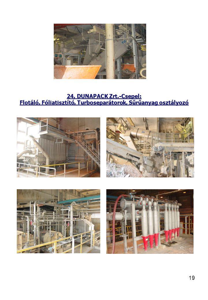 19 24, DUNAPACK Zrt.-Csepel: Flotáló, Fóliatisztító, Turboseparátorok, Sűrűanyag osztályozó